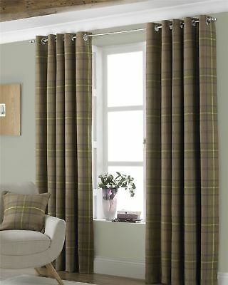 Tartan Check Woven Wool Look Green Lined Ring Top Curtains *7 Sizes* • 72.95£