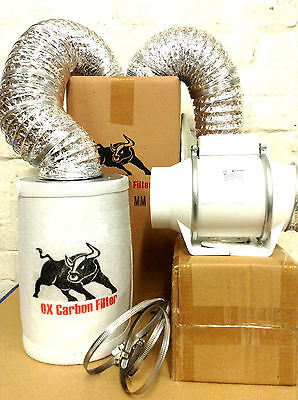 Carbon Filter Fan Kit Extractor 100mm Inline 4  Grow Tent Set Hydroponics • 69.99£