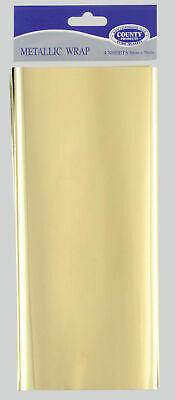 £2.79 • Buy Metallic Wrap Gold 4 Sheets 50cm X 75cm - Gift Wrapping Paper Foil Presents