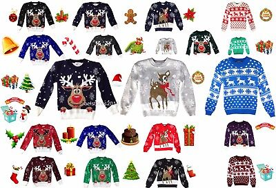 Christmas Jumper Rudolph Xmas Retro Winter Sweater Kids Childrens Girls Boys New • 12.99£