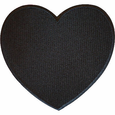 Embroidered Iron On Black Love Heart Patch Sew On Badge Romantic Gift Present • 2.79£