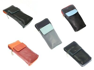 Soft Leather Glasses Case Spectacle Holder Zipped Reading Slim Cover Unisex Gift • 9.99£