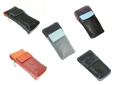 Soft Leather Glasses Case Spectacle Holder Zipped Reading Slim Cover Unisex Gift • 8.99£