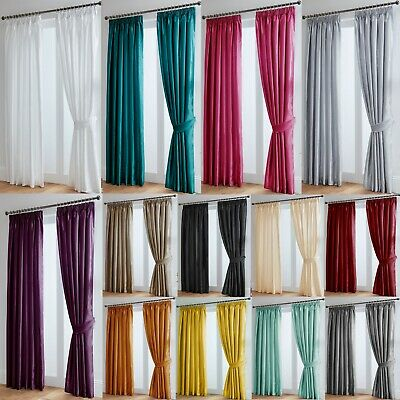 £14.85 • Buy Faux Silk Curtains Luxury Fully Lined - Pencil Pleat Tape Top - Free Tiebacks