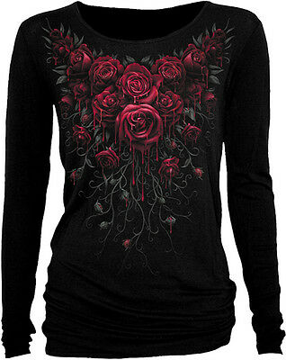 Spiral Direct New Release BLOOD ROSE Long Sleeve Viscose,Gothic Roses/Goth/Top • 18.90£
