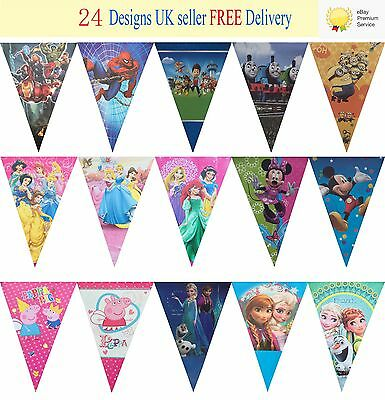 New 40 Designs Birthday Party Theme Flag Bunting Decoration Banner 2.5m 10 Flags • 3.29£
