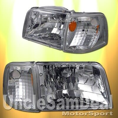 $124.99 • Buy 1993-1997 Ford Ranger Clear Chrome Headlights Corner Set 4 Pieces Direct Fit