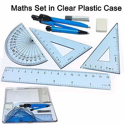 £2.75 • Buy Maths Set Clear Plastic Case Geometry Ruler Protector Compass Squares Eraser Kit