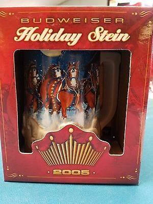 $ CDN22.46 • Buy 2005  Anheuser Busch  AB  Budweiser Holiday Christmas Beer Stein Clydesdales NIB
