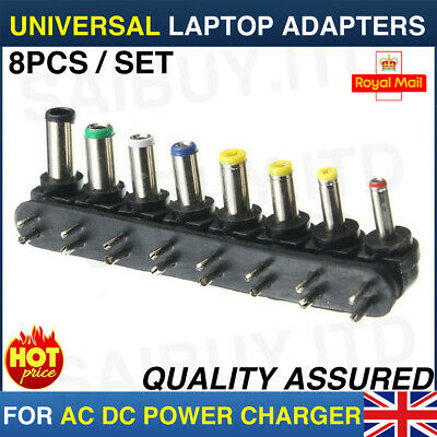 £3.49 • Buy 8pcs Universal PC Notebook Laptop AC DC Power Charger Adapter Tips Connector