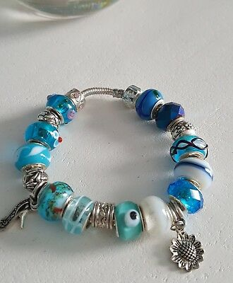 Silver Plate Bracelet With Charms. Various Colours. P/Dora Style.  BOXED  • 9.95£