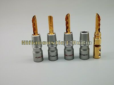 4x Furutech FP-200B(G) Gold Plated Banana Speaker Cable Connector Plug Wire  • 29.33£