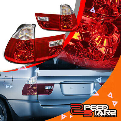 $107.97 • Buy For E53 00-06 Bmw X5 Chrome Housing Clear Lens Red Led Brake Tail Lights/lamps