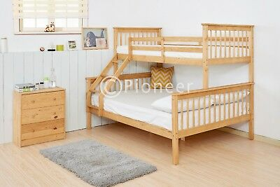 Bunk Bed Wooden Frame Oak Triple Sleeper Children Bunk Bed Single In Pine 4ft6   • 289.99£