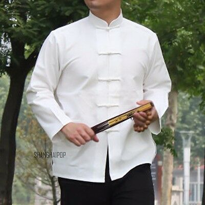Men Traditional Chinese Shirt Top Frog Button Casual Cotton Vintage Kung Fu New • 19.31£