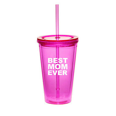 $14.99 • Buy 16oz Double Wall Acrylic Tumbler Pool Beach Cup With Straw Best Mom Ever