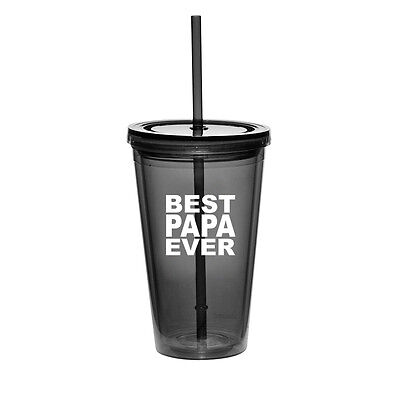$14.99 • Buy 16oz Double Wall Acrylic Tumbler Pool Beach Cup With Straw Best Papa Ever