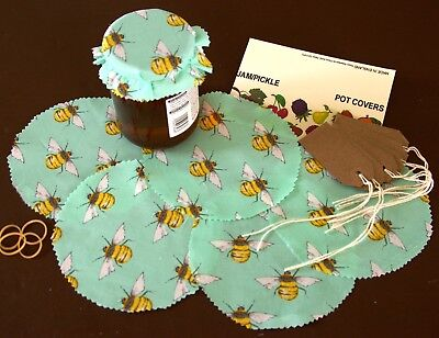 Honey Bee Fabric Jam Jar Pot Covers, Pinked Edges, Labels, Bands & Free Post    • 3.85£