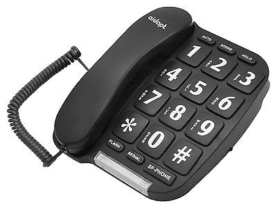 Aidapt Easy To Read Big Button Black Corded Hands Free Home Phone Telephone  • 12.99£