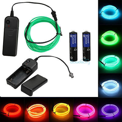 $6.69 • Buy 9FT Neon LED Light Glow EL Wire String Strip Rope Dance Party Battery Powered