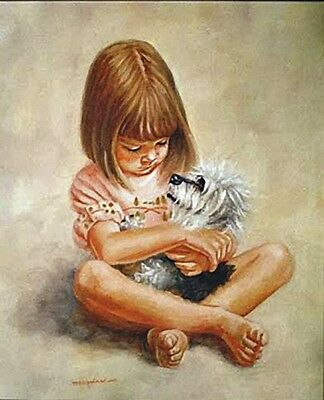 £9.95 • Buy DANDIE DINMONT TERRIER & CHILD DOG ART LIMITED EDITION PRINT By Peter Deighan