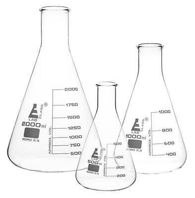 Conical Erlenmeyer Flasks Lab Glassware Borosilicate 3.3 Glass Various Sizes • 5.99£