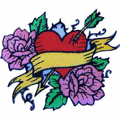 Embroidered Iron Sew On Tattoo Red Heart Pink Roses Patch Rockabilly Biker Badge • 2.79£