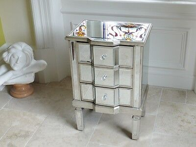 Silver Venetian Glass Mirrored Bedside Table 3 Drawer Nightstand 3694 • 149.99£