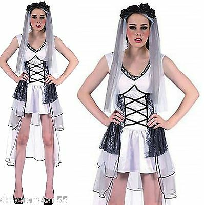 Zombie Bride Fancy Dress Dead Halloween Graveyard Ghost Ghoul Stretch 12 14 16 • 8.99£