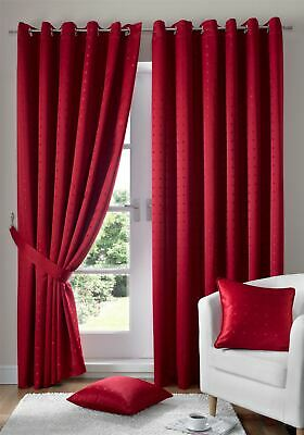 Jacquard Check Red Lined Ring Top Eyelet Curtains Drapes *6 Sizes* • 39.99£