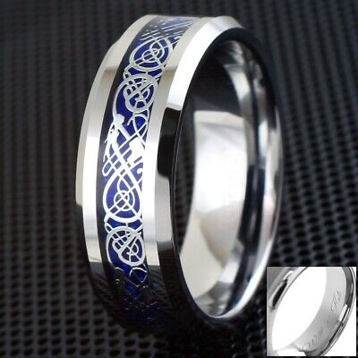$13.99 • Buy 8mm Engraved Blue Celtic Dragon Tungsten Ring Mens Jewelry Wedding Band