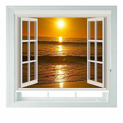 Window Beach Sunset Printed Photo Black Out Roller Blinds Various Sizes • 85£