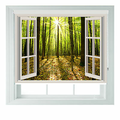 Window Sunny Forest Printed Photo Black Out Roller Blinds Various Sizes • 65£