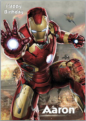 Iron Man Avengers Birthday Card A5 Personalised With Own Wording • 3.89£