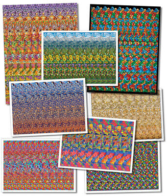 AU32.76 • Buy Set Of 8 Hidden 3D Stereogram Llusion Posters