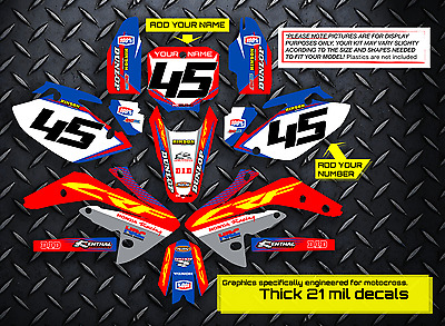 $159.99 • Buy 2005 - 2014 Honda Crf 450x Dirt Bike Graphics Kit Factory: Red / Blue Decals