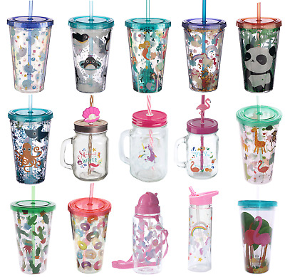 Kids Childrens Drinking Cup Glass Jar With Straw Water Bottle Cold Drinks • 4.95£