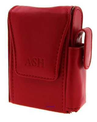 Cigarette Packet Case - Ash Dark Red Leather Style With Lighter Holder NEW Apc7 • 9.49£