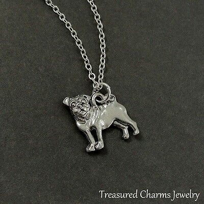 £10.61 • Buy Silver Pug Charm Necklace - Puppy Dog Pendant Jewerly NEW