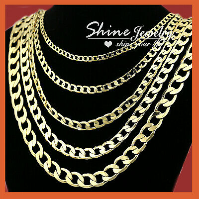 AU29.44 • Buy 18k Yellow Gold Gf Flat Ring Curb Chain Women Men Solid Charm 16-30inch Necklace