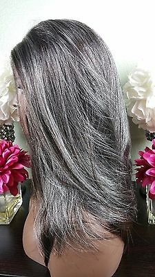 $67.99 • Buy Beautiful Gray/Auburn Nape Lace Front Wig Soft Long Layers Feathered