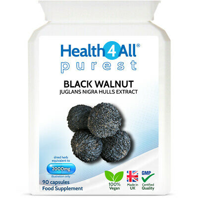 Health4All Black Walnut Hulls 2000mg Capsules | PARASITE & CANDIDA DETOX CLEANSE • 8.99£