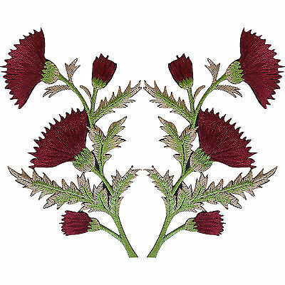 Pair Of Burgundy Maroon Red Thistle Flower Patches Iron On Sew On Flowers Patch • 4.99£