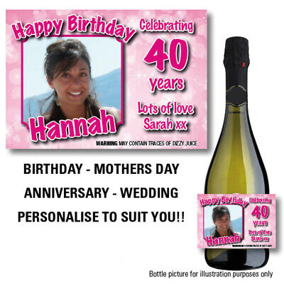 £2.98 • Buy Personalised Wine Champagne Prosecco Photo Birthday Gift Idea Bottle Label -75