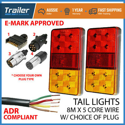 AU39.75 • Buy LED TRAILER TAIL LIGHT KIT PAIR PLUG, 8m 5 CORE WIRE CARAVAN BOAT UTE Waterproof