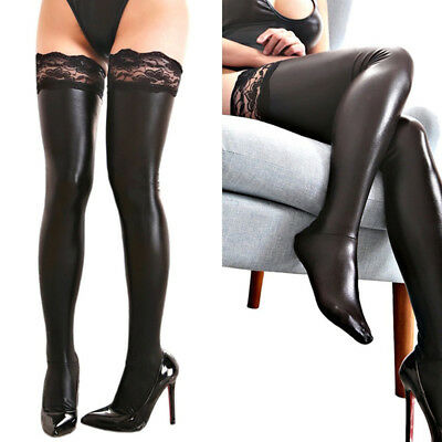 Sexy Women Lingerie Leather Legging Stockings Wetlook Thigh-High Sock • 2.29£