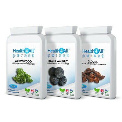 Health4All Wormwood, Black Walnut, Cloves PARASITE CLEANSE DETOX SET Capsules • 21.99£