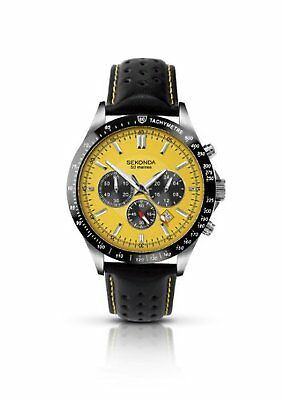 £69.99 • Buy Sekonda Mens Chronograph Watch With Yellow Dial And Black Leather Strap 3378