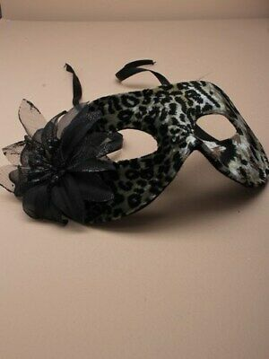 Animal Printed Mask With Fabric & Flower Detail, Masquerade Fancy Dress!4236 • 5.95£