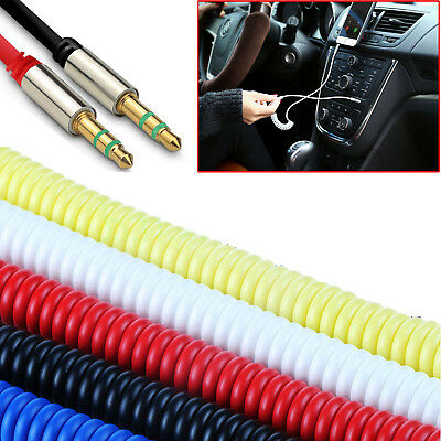 £2.65 • Buy 1m Audio AUX Cable Coiled Auxiliary Lead Jack To Jack 3.5mm Male Plug Extension
